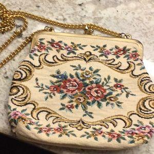 Vintage needlepoint flowered bag